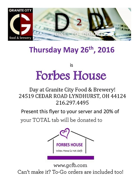 Show this flyer and 20% of your total bill will be donated to Forbes House!