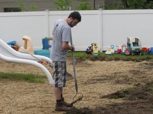 James Baker from Avery Dennison headed outside once the rain stopped and started working on ridding the playground of weeds and clover (and the resulting bees) as part of United Way Day of Caring.