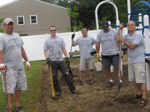 Another United Way Day of Caring Team of volunteers stops by Forbes House June 25th a hand to fellow Avery Dennison employees already working on projects at the shelter. The  bonus team includes (left to right) Scott Noerr, Matthew Wilkinson, Bryan Zelinski, Barry Wilborn  and Brad Springer. Thanks for pitching in!  to lend
