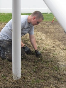 Matthew Wilkinson is one of five Avery Dennison Day of Caring volunteers who completed  their job at another agency and then offered their services to Avery Dennison Day of Caring  volunteers working the day at Forbes House.