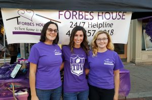 Katy, Mallory and Paige at Tackle Domestic Violence Event in October 2016