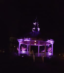 Gazebo in Downtown Willoughby Purple for Domestic Violence Awareness