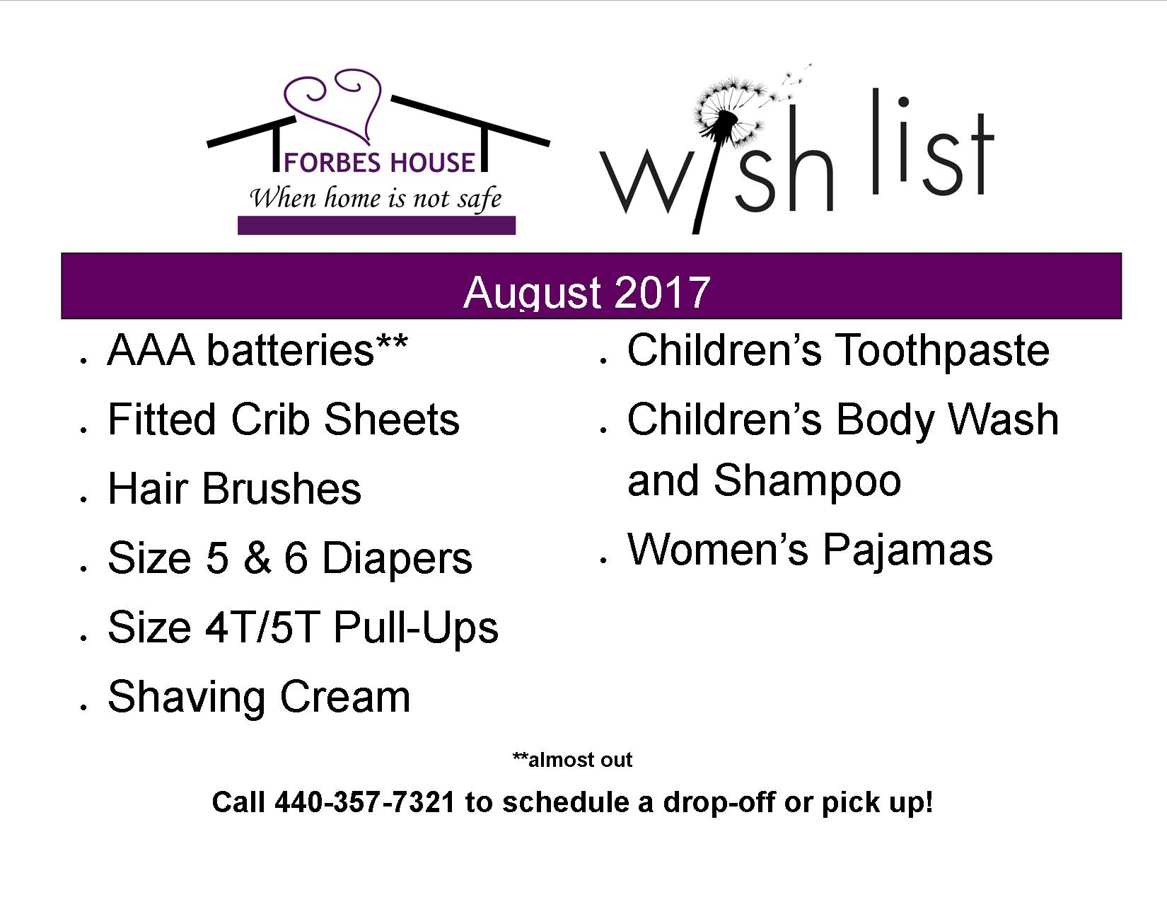 Forbes House Monthly Wish List Items